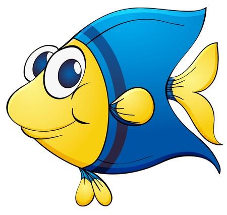 bunter fisch: Illustration eines blauen tropischen Fischen Illustration