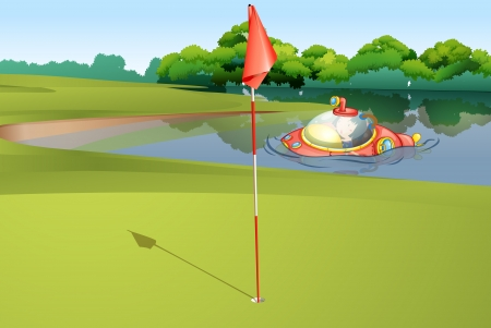 cartoon submarine: Illustration of  a submarine appearing at a golf course Illustration