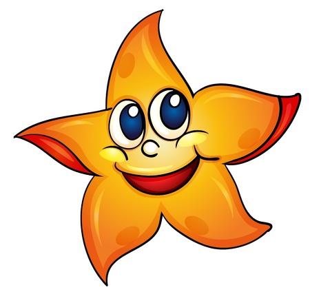 estrella caricatura: Ilustración de una estrella de mar sobre fondo blanco Vectores