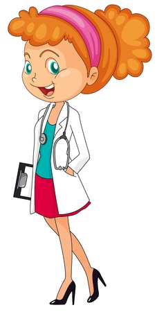 scientist: Illustration of a woman doctor