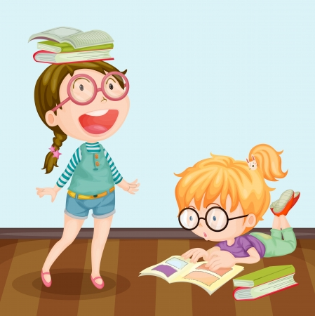 reading glass: Ilustraci�n de las ni�as que estudian