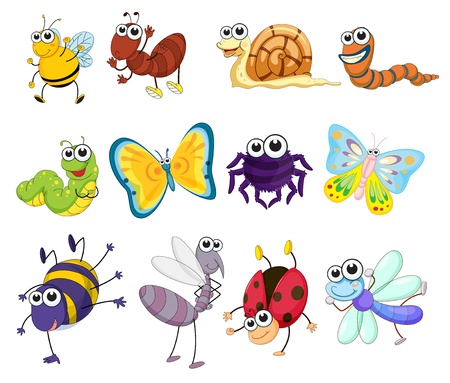 Illustration of a group of bugs Vectores