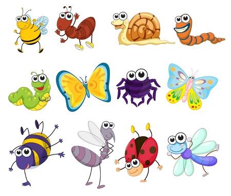 oruga: Ilustración de un grupo de insectos Vectores