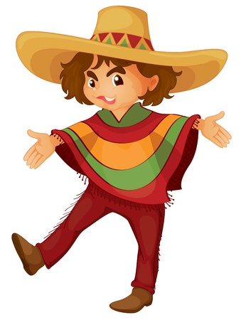 mexican cartoon: Illustration of a mexican boy