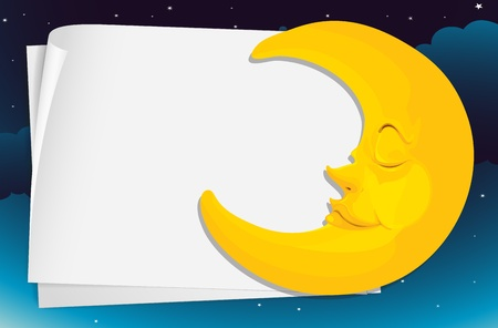 cartoon stars: Illustration of moon and paper
