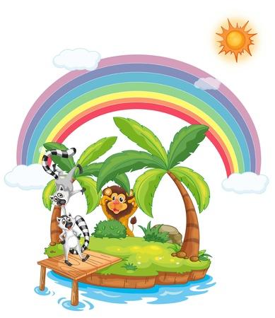 Illustration of animals on an island Vector