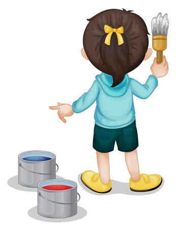 Illustration of a girl painting Vector