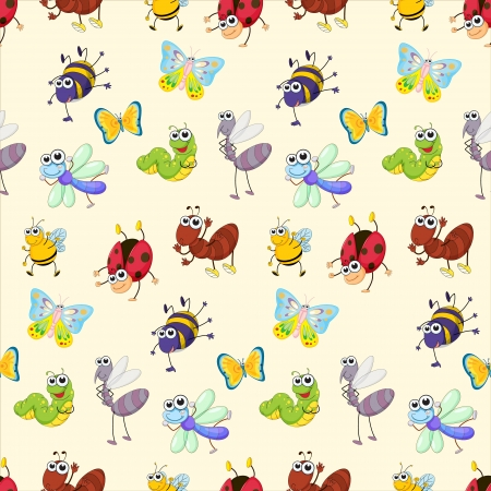 Illustration of a bugs wallpaper Vector