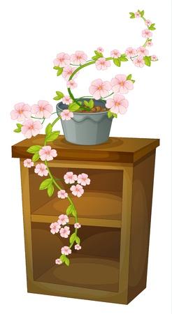 plant pot: Illustration of a blossom on a shelf