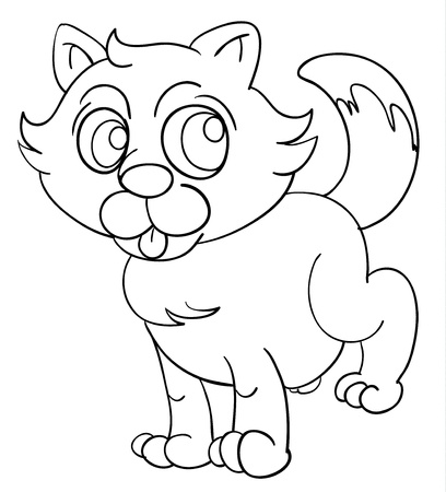 black and white line drawing: Illustration of a cat outline