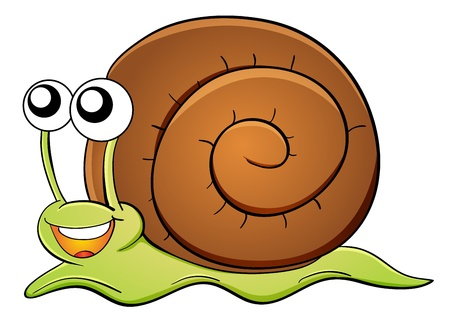 crawling: Illustration of snail cartoon on white