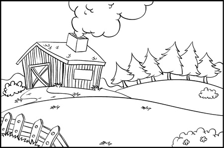 coloring sheet: Illustration of a farm outline Illustration