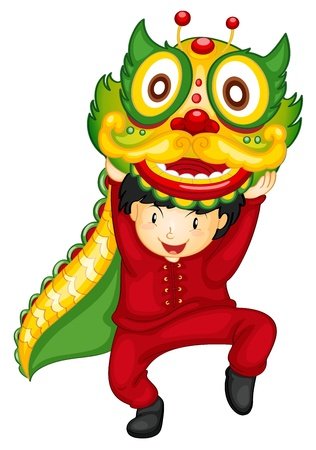Illustration of a boy dancing with dragon Ilustração