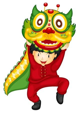 bambini cinesi: Illustrazione di un ragazzo con danza del drago Vettoriali