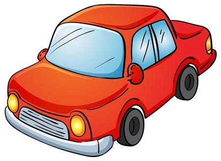 autom�vil caricatura: Ilustraci�n de un coche en blanco