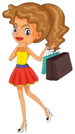 miniskirt: Illustration of a girl shopping
