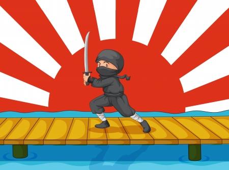 katana: Illustratie van een ninja op wit Stock Illustratie