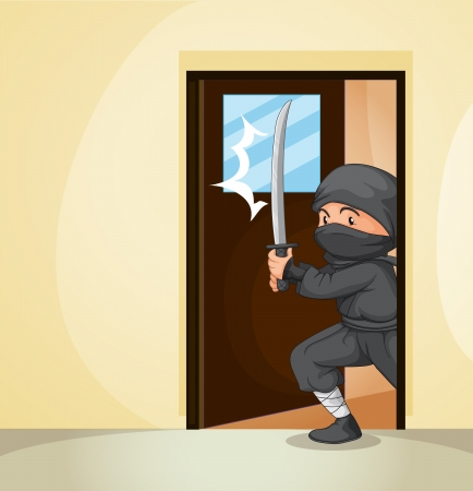 Illustration of a ninja entering home Vector