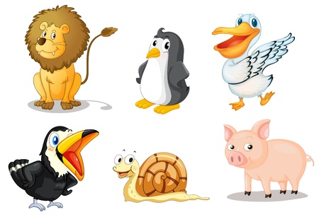 Illustration of a set of cute animals Vector