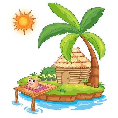 sonnenbaden: Illustration eines Schweins auf einem Pier
