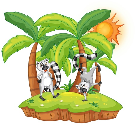 Illustration of lemurs on an island