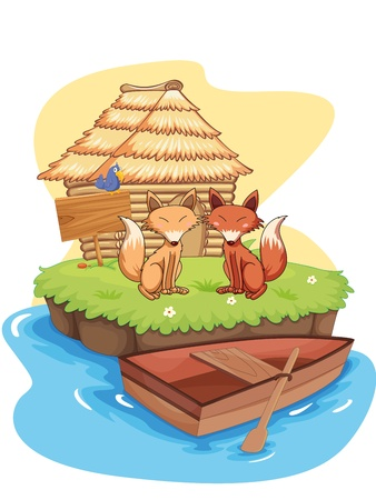 fox fur: Illustration of foxes on an island Illustration