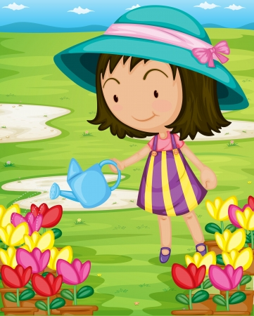 florecitas: Ilustración de regar las plantas niña