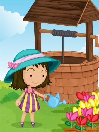 watering: Illustratie van meisje het water geven planten