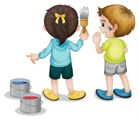 Illustratie van twee kinderen schilderen
