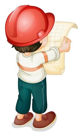 obrero: Ilustración de papel muchacho que sostiene