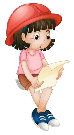 Illustration of a girl reading Vector