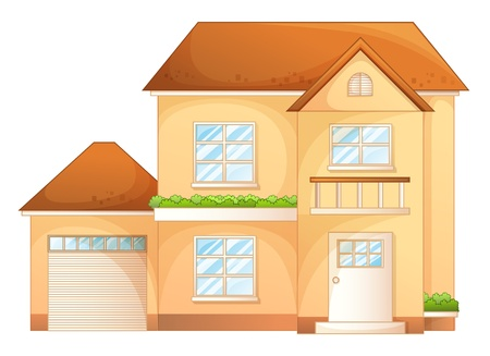 two storey house: Illustration a simple house front view