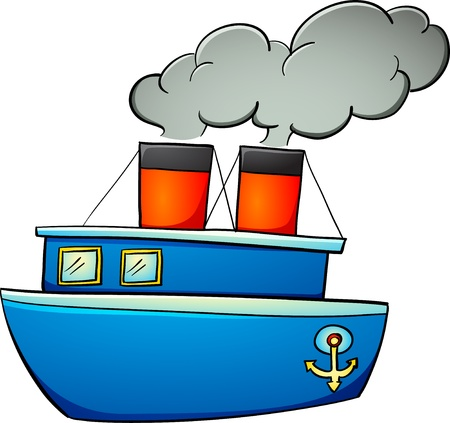 barco caricatura: Ilustración de la
