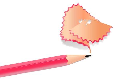 sharpening: Illustration of pencil shavings on white