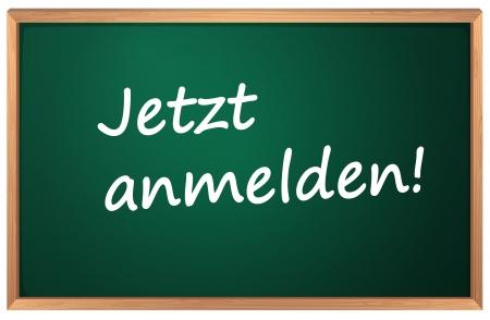 note pc: Illustration of Jetzt anmelden sign Illustration