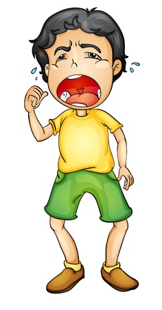 wenen: Illustratie van een jongen huilen Stock Illustratie