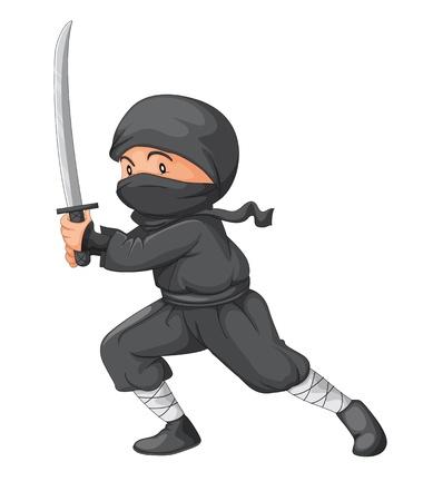 katana: Illustratie van een ninja met zwaard Stock Illustratie
