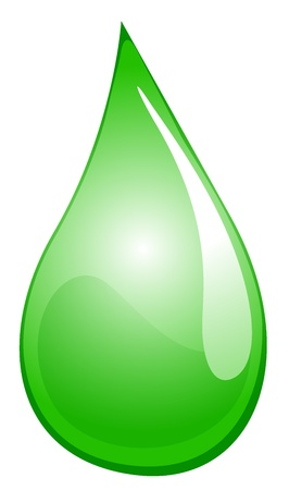 glisten: Illustration of a green liquid droplet