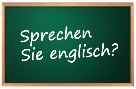 speak english: Illustration of German English sign