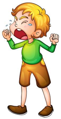 nešťastný: Ilustrace chlapec pláče