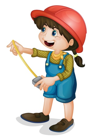 overalls: Illustration of a condtruction girl