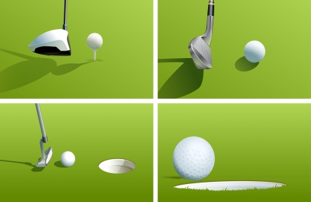 sporting event: Illustration of various golf shots