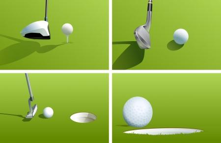 golf tee: Illustration of various golf shots