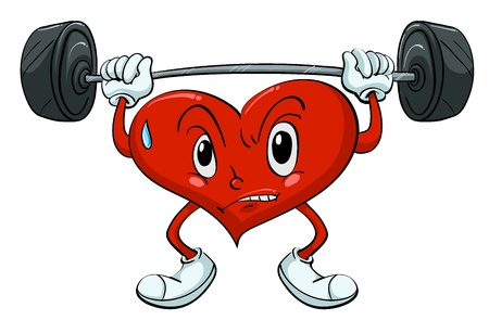 children s: Illustration of a heart lifting weights