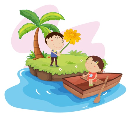Illustration of couple on an island Illustration