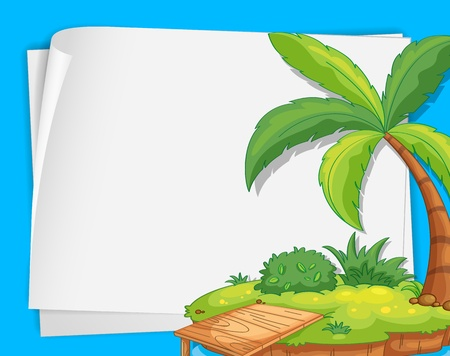 coconut palm: Illustration of a tropical island on paper Illustration