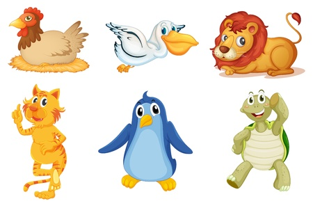 cartoon chicken: Illustration of collection of animals