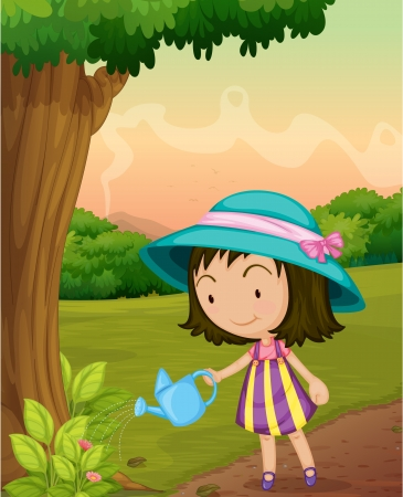 watering garden: Illustration of girl watering garden