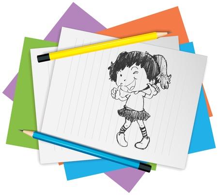 pencil skirt: Illustration of a girl dancing Illustration