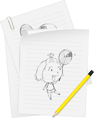 Illustration of a girl drawn on white paper Vector
